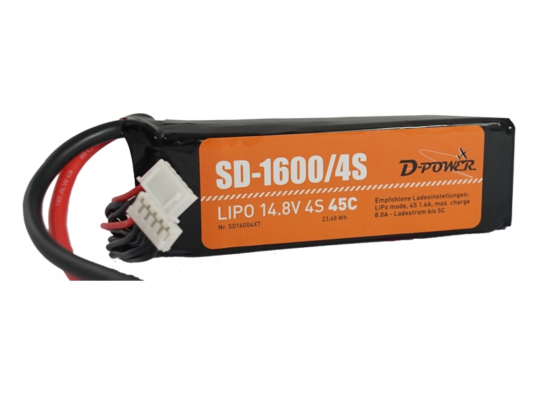 D-Power SD-1600 4S Lipo (14,8V) 45C - T-Stecker