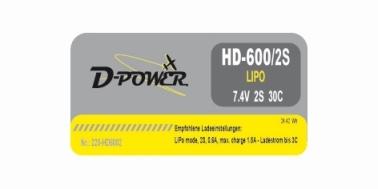 D-Power HD-600 2S Lipo (7,4V) 30C - mit BEC Stecker