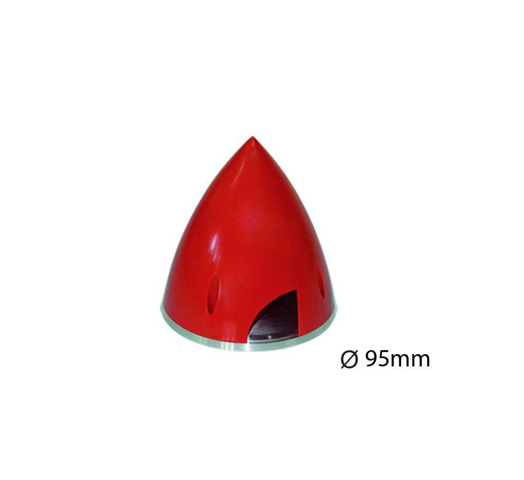 Kunststoff-Spinner Ø 95 mm  rot mit Aluminium Grundplatte