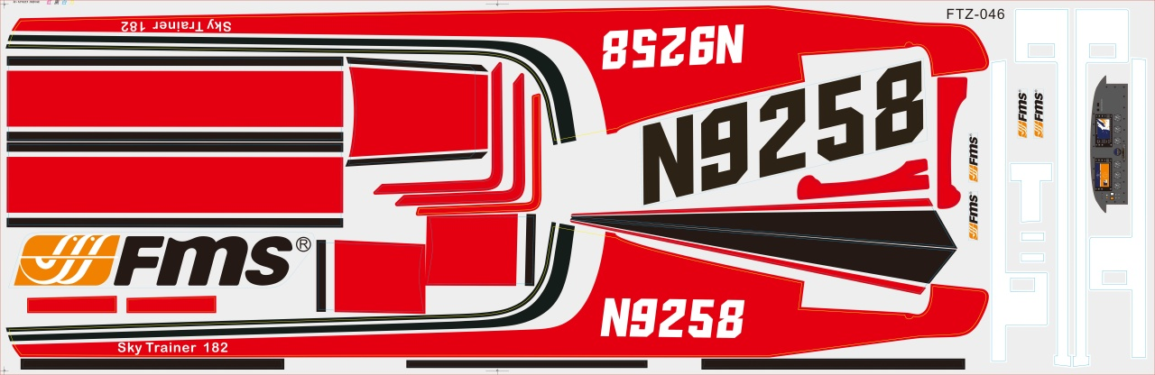 FMS Sky Trainer 182 rot - Dekorbogen