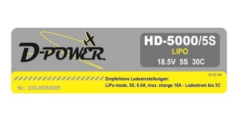 D-Power HD-5000 5S Lipo (18,5V) 30C - XT-60 Stecker