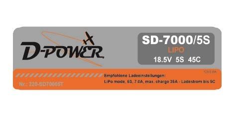 D-Power SD-7000 5S Lipo (18,5V) 45C - T-Stecker