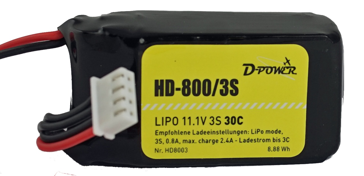 D-Power HD-800 3S Lipo (11,1V) 30C BEC Plug