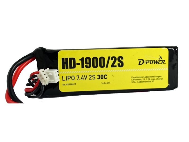 D-Power HD-1900 2S Lipo (7,4V) 30C - T-Stecker