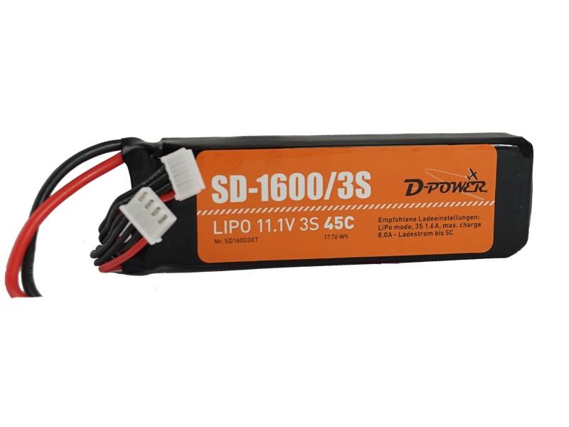 D-Power SD-1600 3S Lipo (11,1V) 45C - T-Stecker
