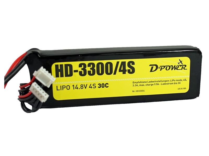 D-Power HD-3300 4S Lipo (14,8V) 30C XT Plug