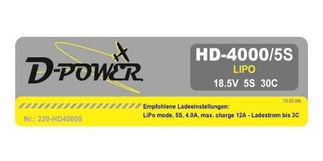 D-Power HD-4000 5S Lipo (18,5V) 30C - T-Stecker