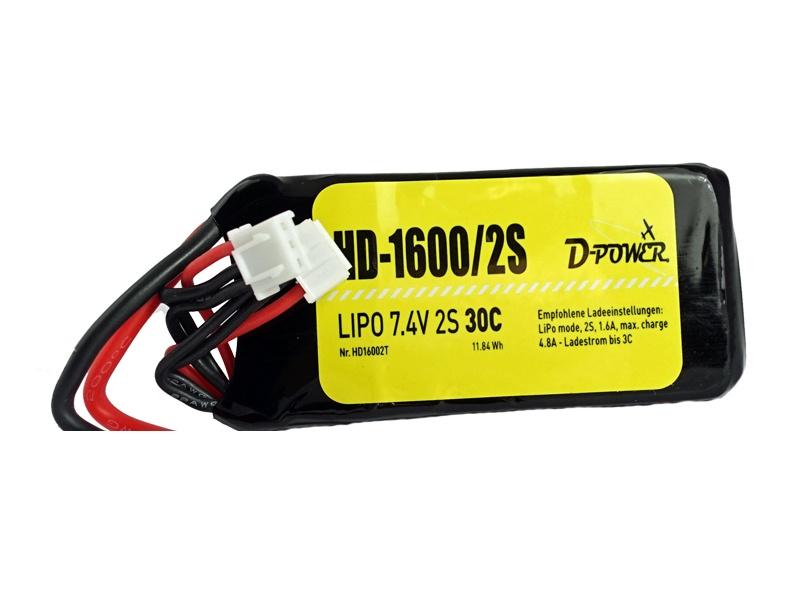 D-Power HD-1600 2S Lipo (7,4V) 30C - T-Stecker