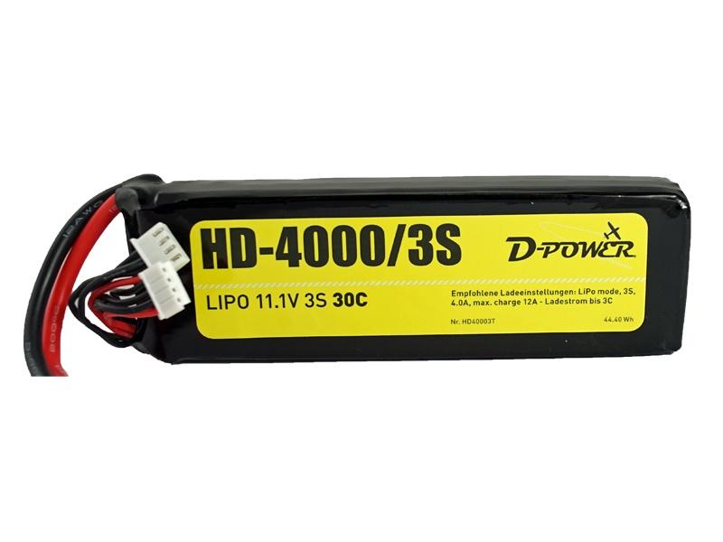 D-Power HD-4000 3S Lipo (11,1V) 30C XT60 Plug