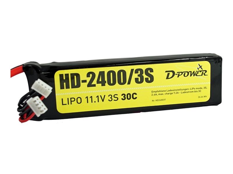 D-Power HD-2400 3S Lipo (11,1V) 30C - XT-60 Stecker