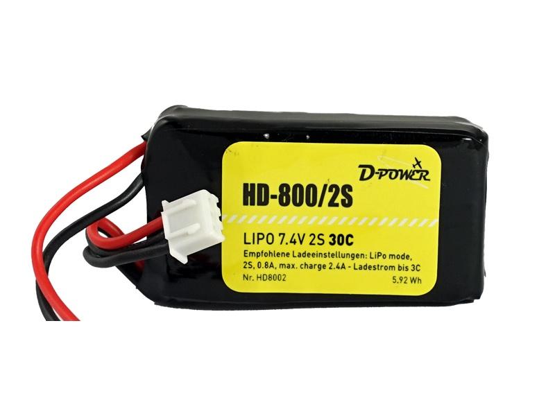 D-Power HD-800 2S Lipo (7,4V) 30C BEC Plug