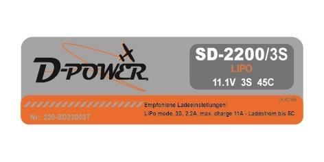 D-Power SD-2200 3S Lipo (11,1V) 45C - T-Stecker