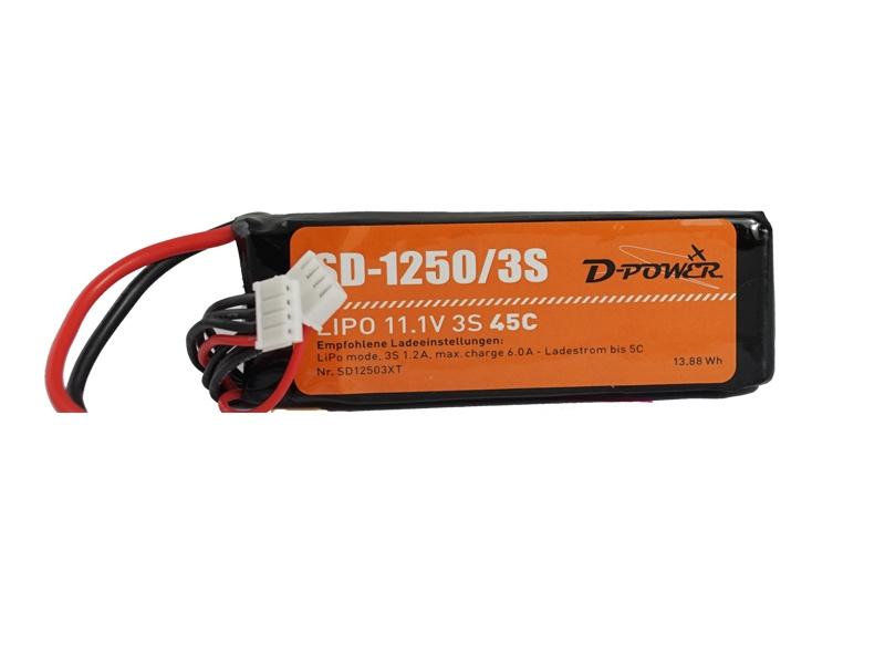 D-Power SD-1250 3S Lipo (11,1V) 45C T - Plug