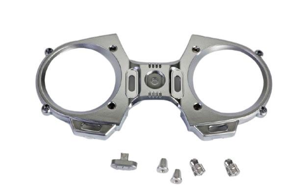 Graupner mz-12 Frontplatte + Steuerknüppel Silberoptik