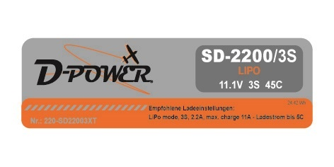 D-Power SD-2200 3S Lipo (11,1V) 45C - XT-60 Stecker