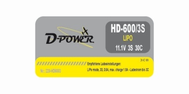 D-Power HD-600 3S Lipo (11,1V) 30C BEC Plug