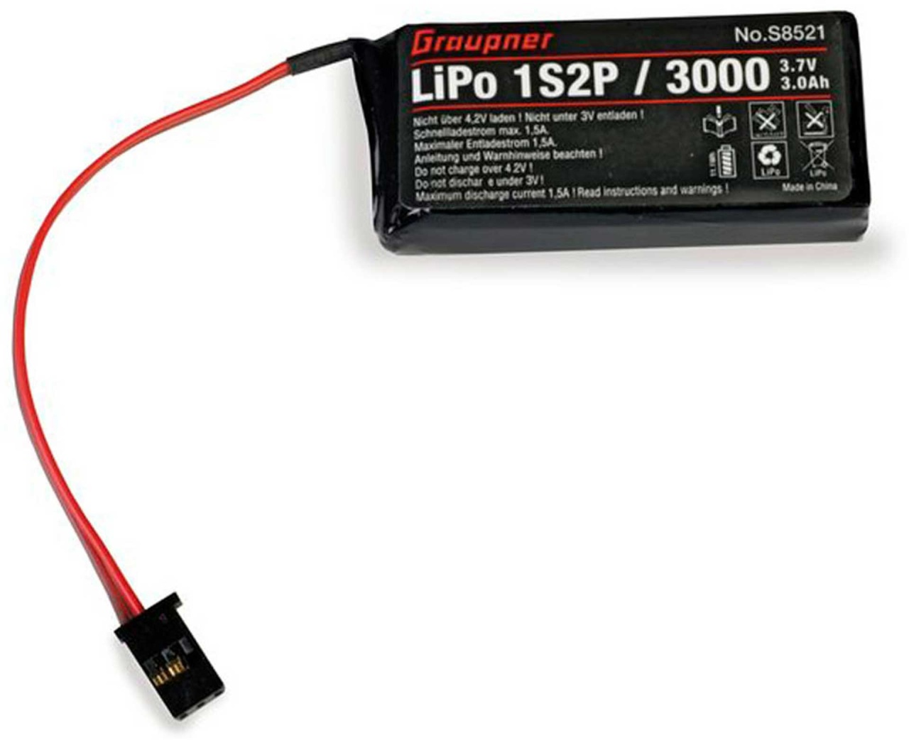 Graupner Senderakku LiPo 1S2P/3000 TX 3,7V für MZ-12