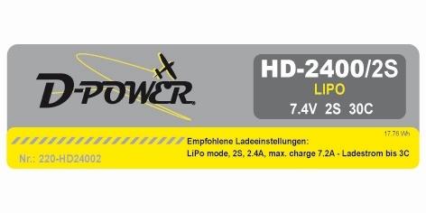 D-Power HD-2400 2S Lipo (7,4V) 30C - XT-60 Stecker
