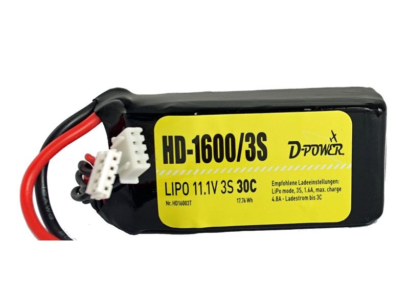 D-Power HD-1600 3S Lipo (11,1V) 30C - XT-60Stecker